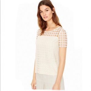 TORY BURCH LINEN JERSEY AND LACE T-SHIRT